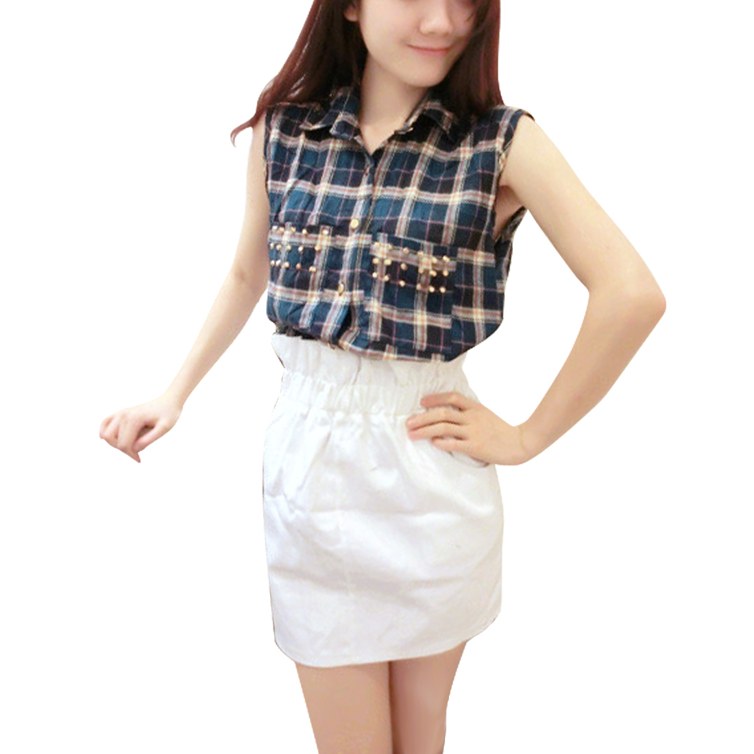 Women Button Closure Point Collar Plaids Pattern Casual Blouse Blue S