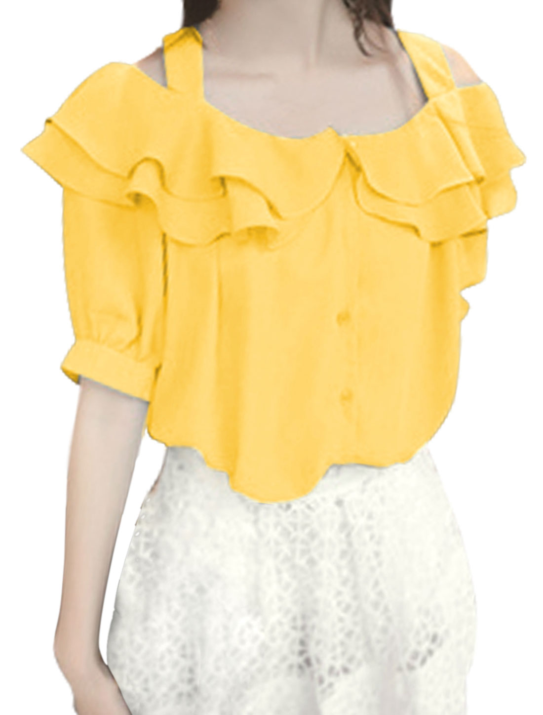 Ladies Spaghetti Strap Short Sleeve Flouncing Blouse Yellow S