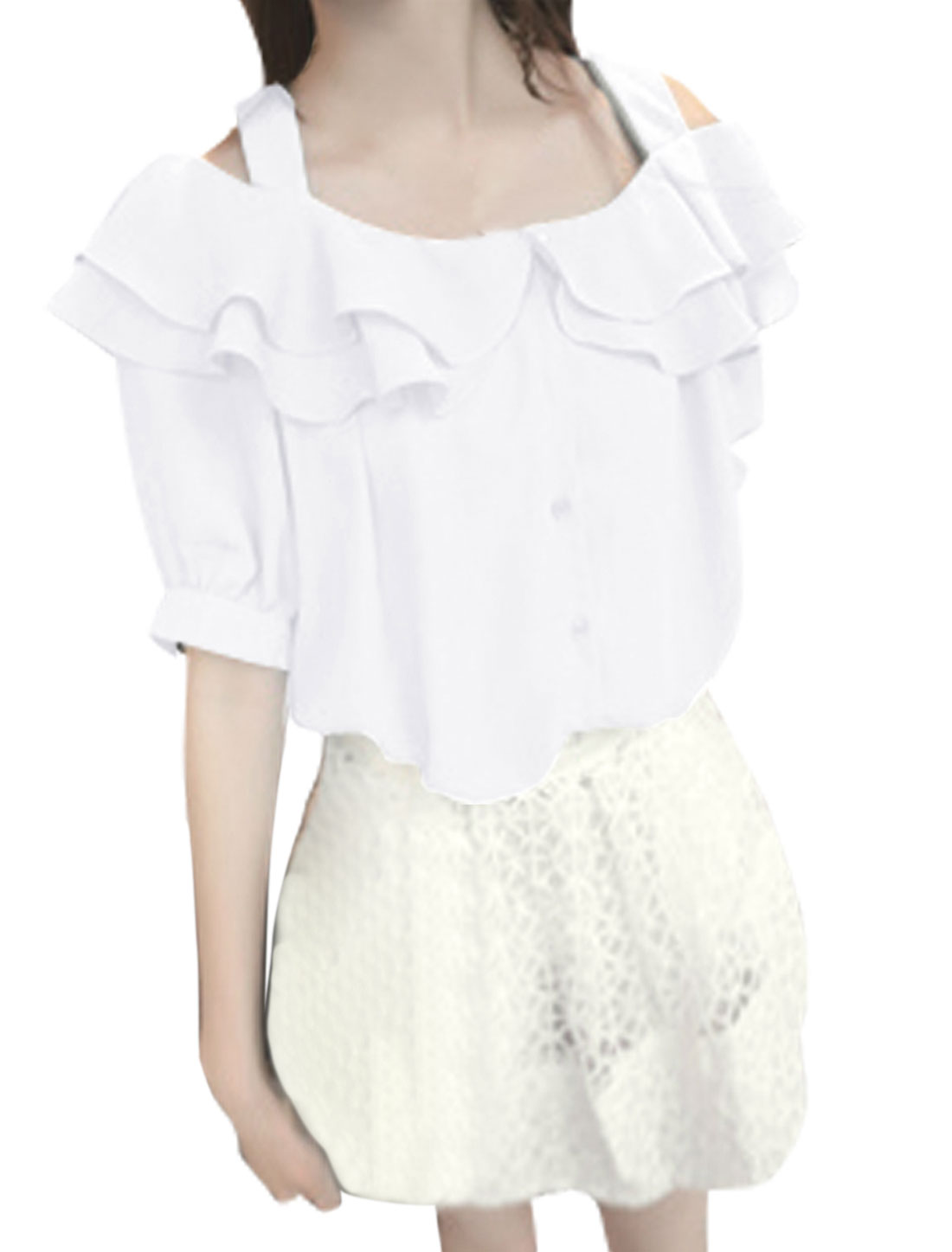 Ladies Short Sleeve Button Closure Flounced Blouse White S
