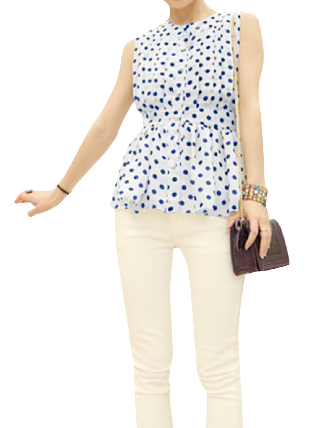 Ladies Round Neck Button Closure Dots Peplum Top Dark Blue White XS