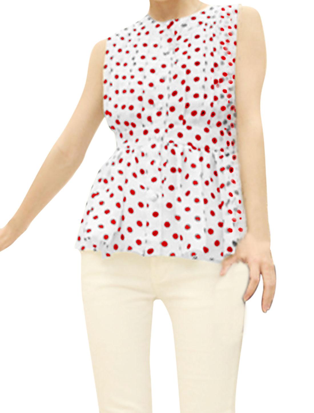 Ladies Round Neck Sleeveless Ruched Peplum Top Red White XS