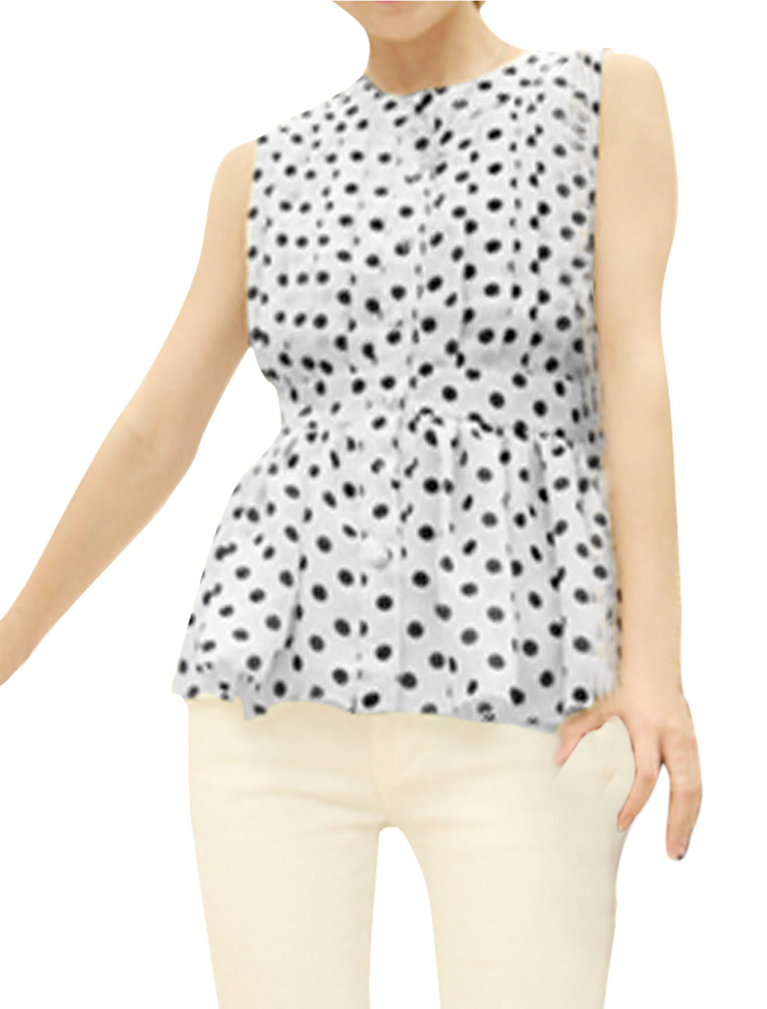 Ladies Single Breasted Sleeveless Dots Peplum Top Black White XS