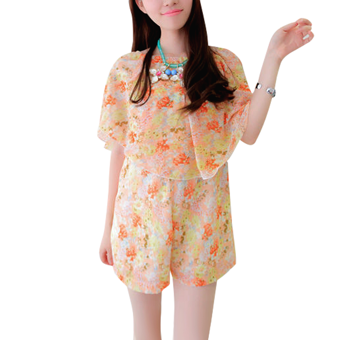 Women Semi Sheer Strapless Floral Pattern Elastic Waist Romper Pink S