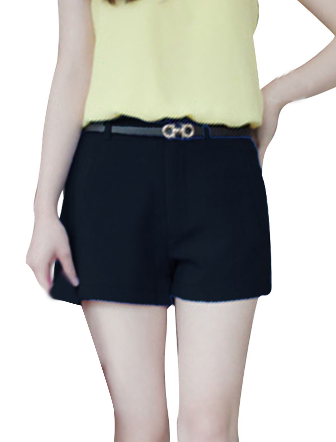 Lady Fake Hip Pockets Decor Zip Fly Front Shorts Black XS