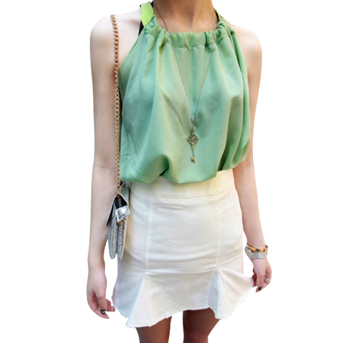 Lady Sleeveless Chiffon Pure Mint Green Self Tie Blouse XS