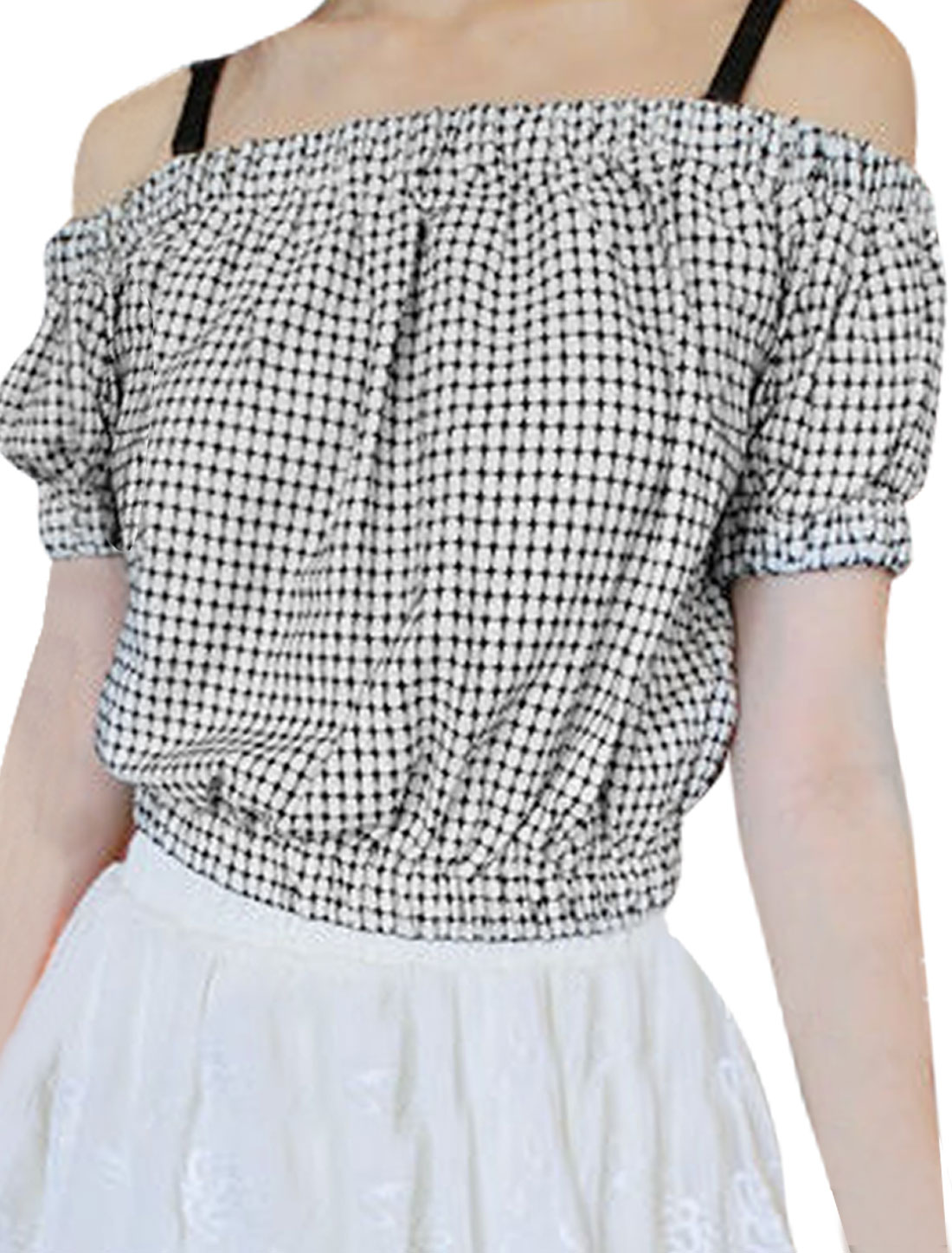 Ladies Strapless Elastic Waist Plaids Pattern Style Casual Blouse S White