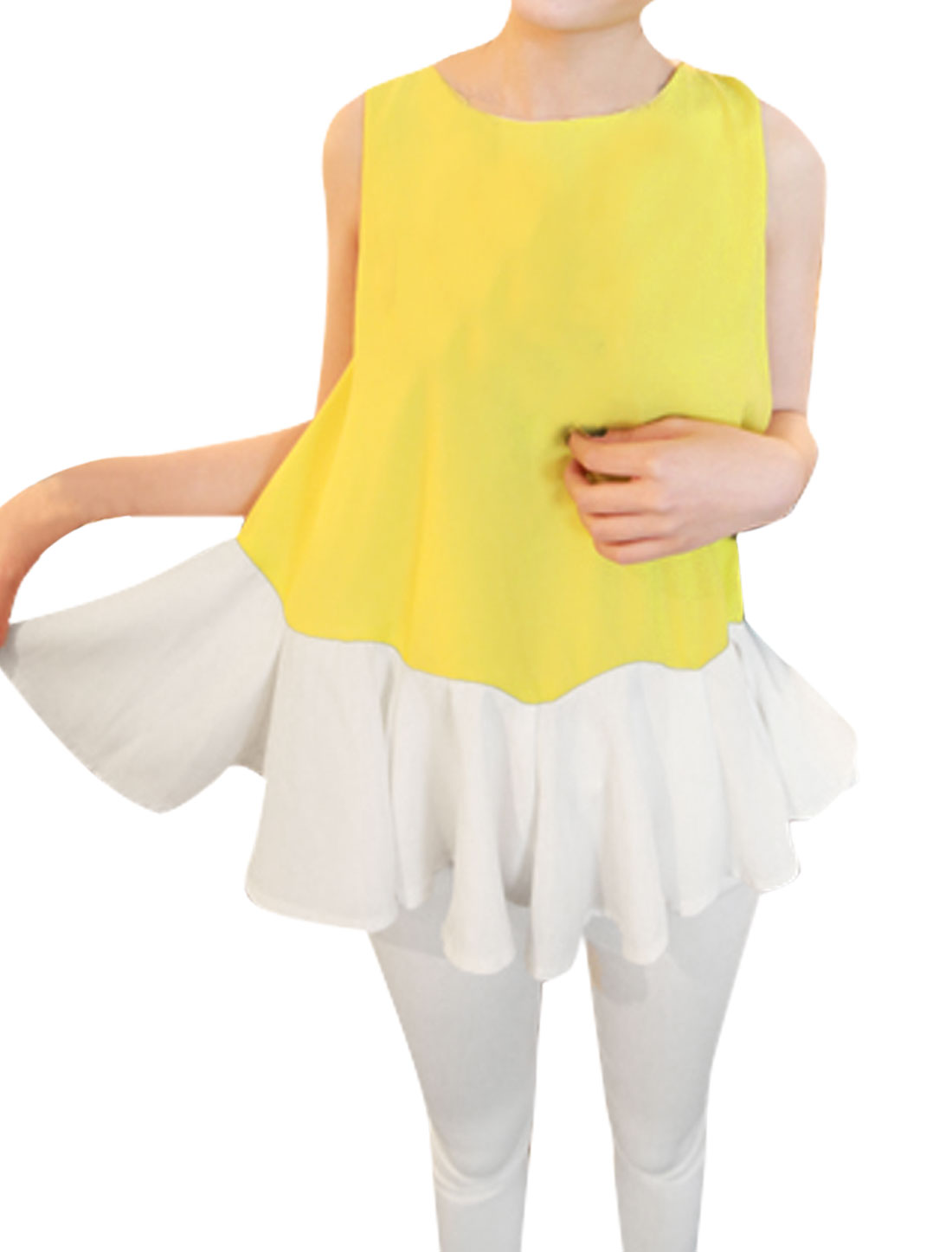 Ladies Pullover Sleevless Color Blocking Tunic Top Yellow White XS