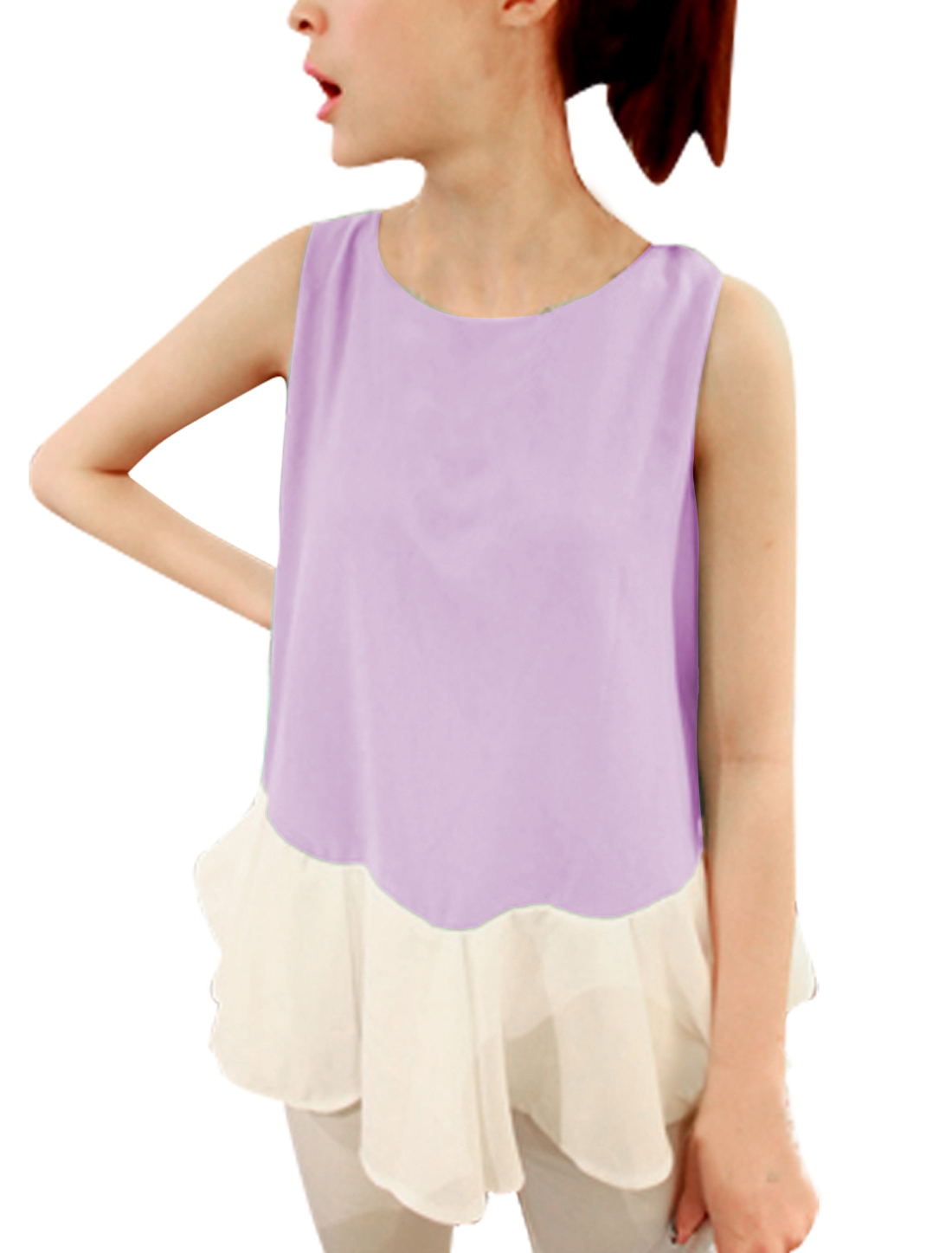 Ladies Round Neck Color Block Tunic Top Lilac White XS