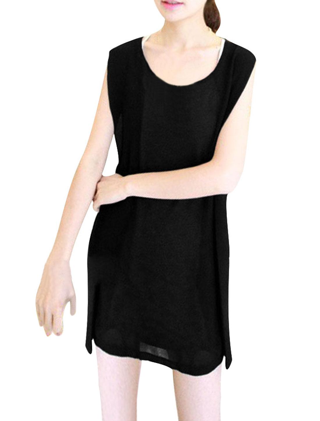 Ladies New Fashion Scoop Neck Black Gray Chiffon Splice Tunic Tank Tops XS