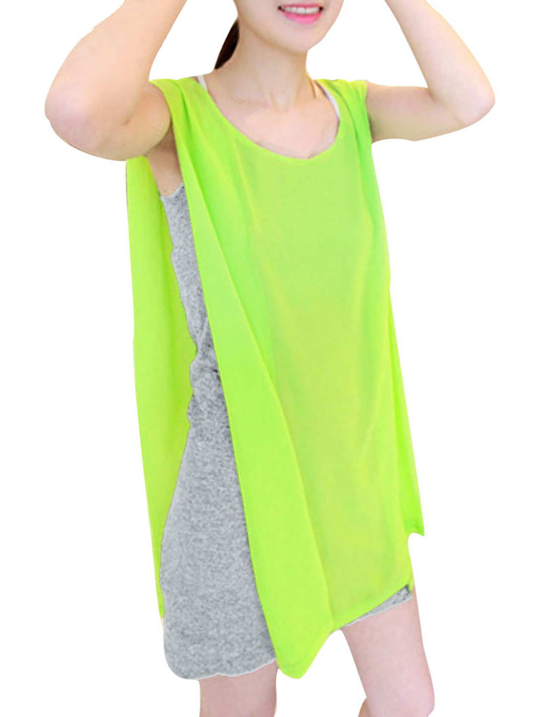 Women Two-Color Design Lime Gray Chiffon Panel Design Tunic Tops XS