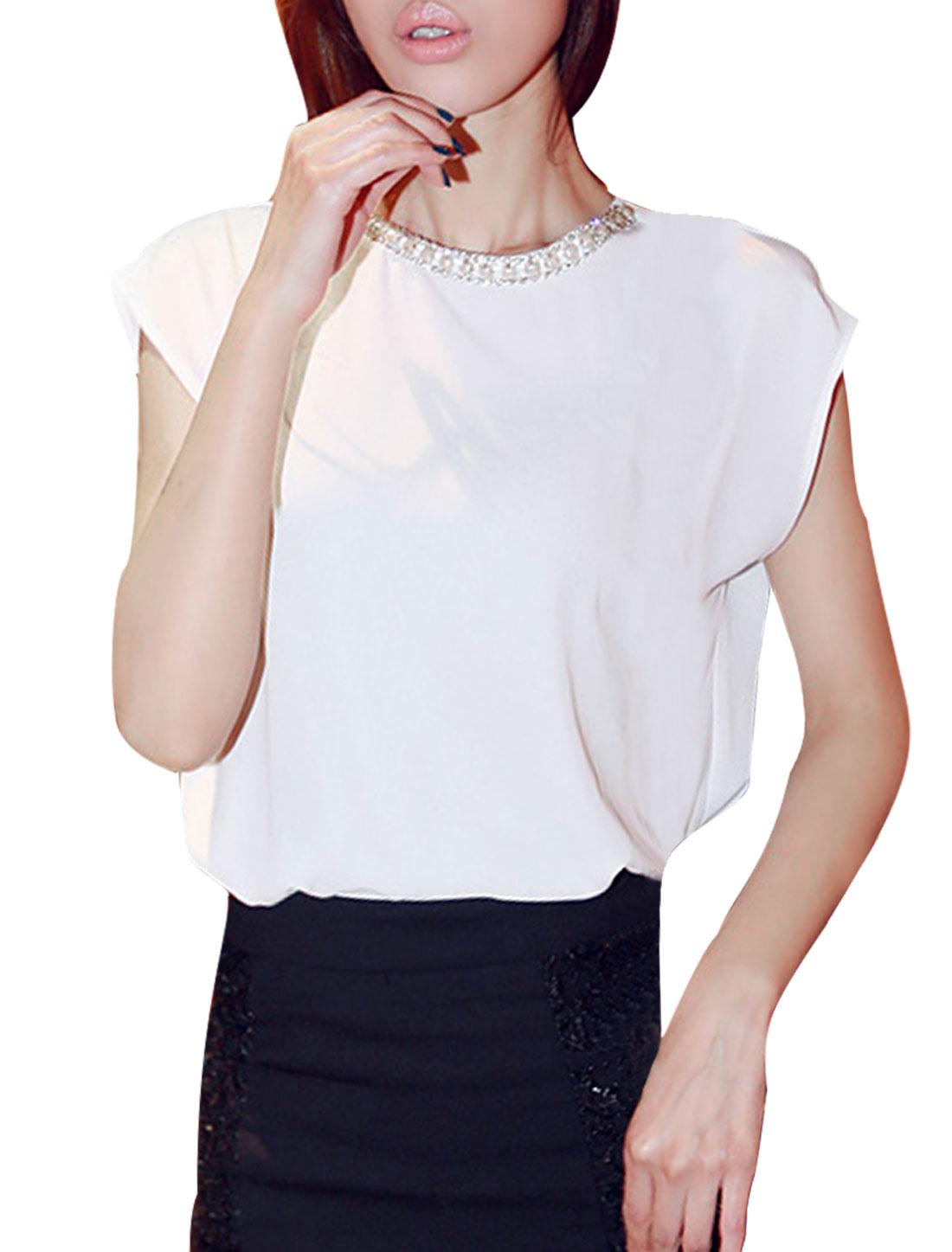Woman New Fashion Fake Diamond Chain Decor Solid Color White Blouse S