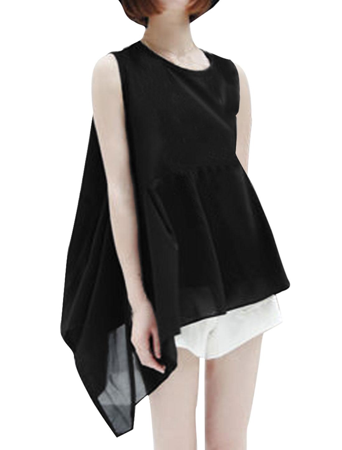 Ladies New Fashion Irregular Hem Chiffon Splice Black Peplum Tops S