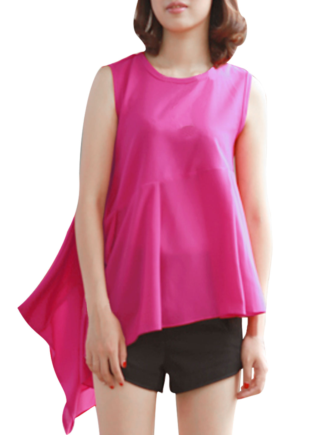 Woman Round Neck Sleeveless Irregular Hem Design Fuchsia Peplum Tops S