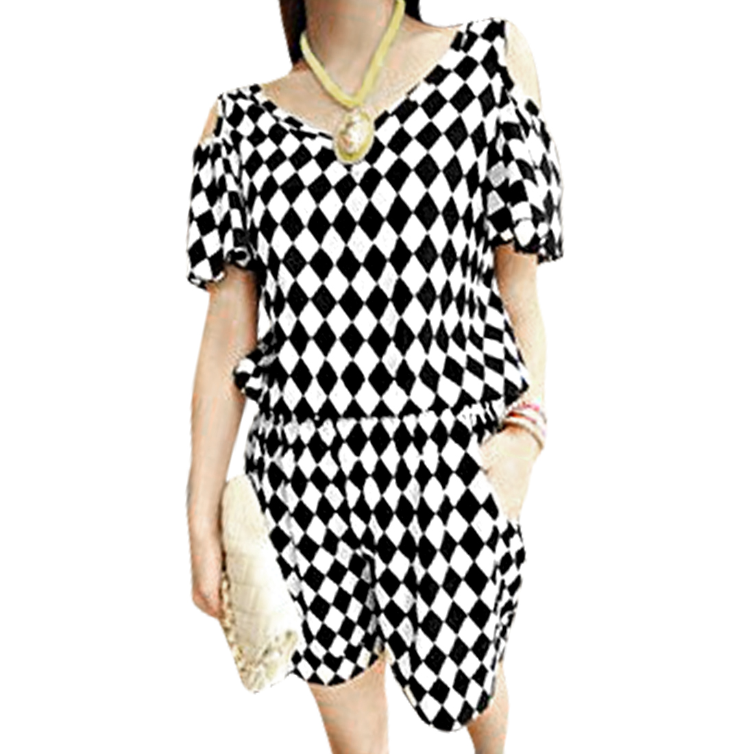 Lady Fashion V Neck Cut Out Sleeve Argyle Prints Black White Romper XS