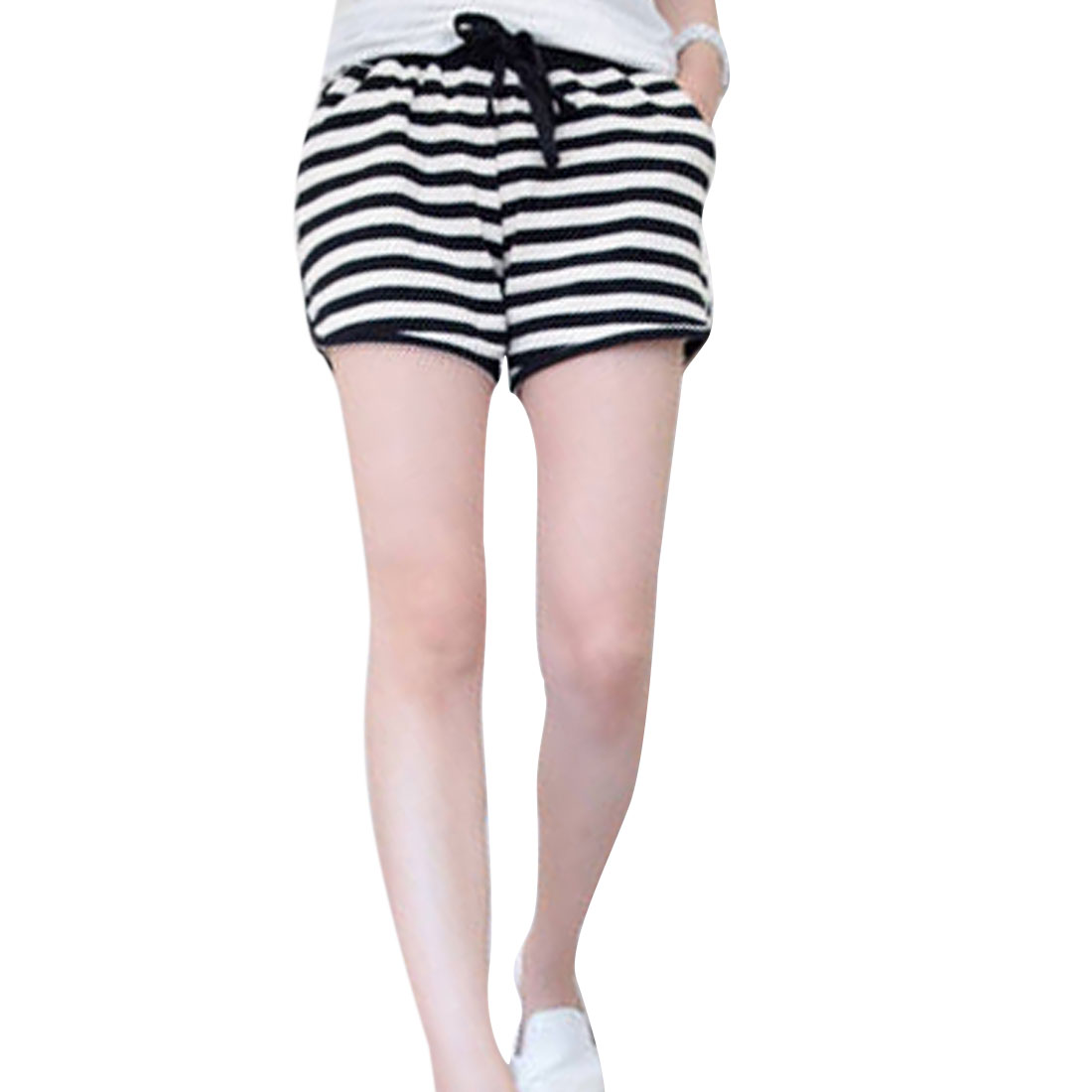 Lady Black White Stripes Self Tie Drawstring Waist Short Trousers XS