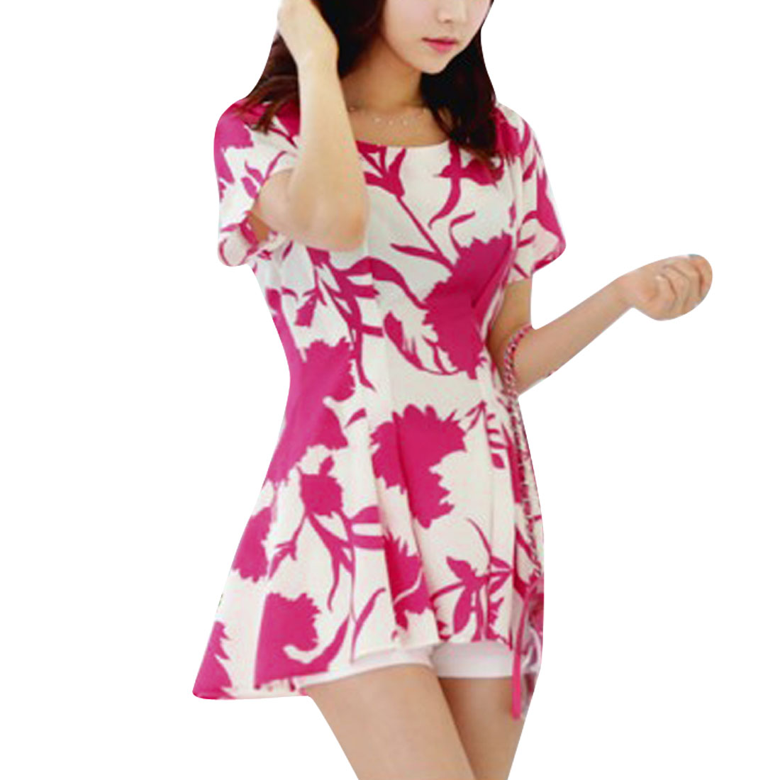 Women Two Tone Round Neck Floral Pattern Style Tunic Top White Fuchsia XS