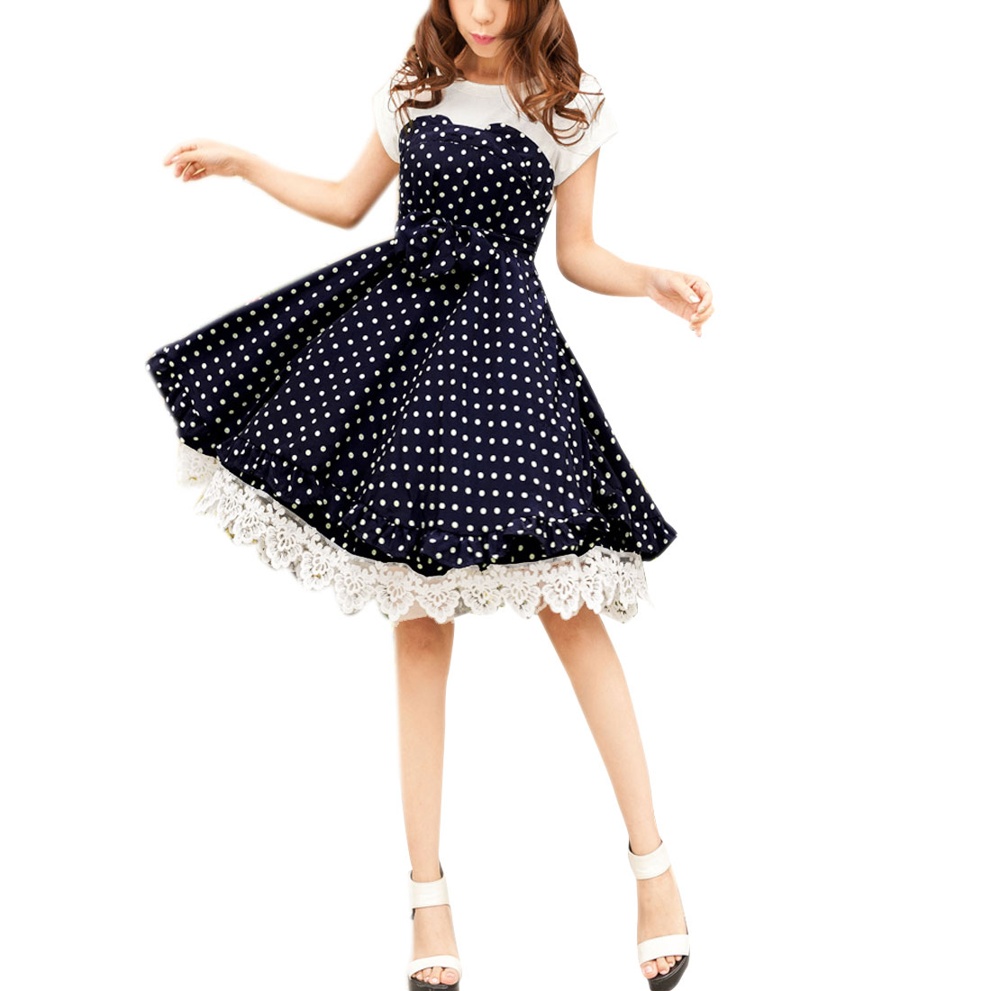Lady Short Sleeve Dots Pattern Loose Lace Hem Dress Navy Blue White XS