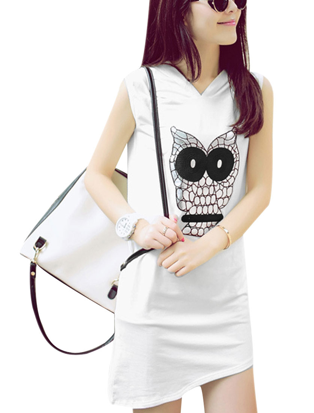 Lady White Asymmetrical Hem Owl Prints Pullover W Waist Belt Dress XS