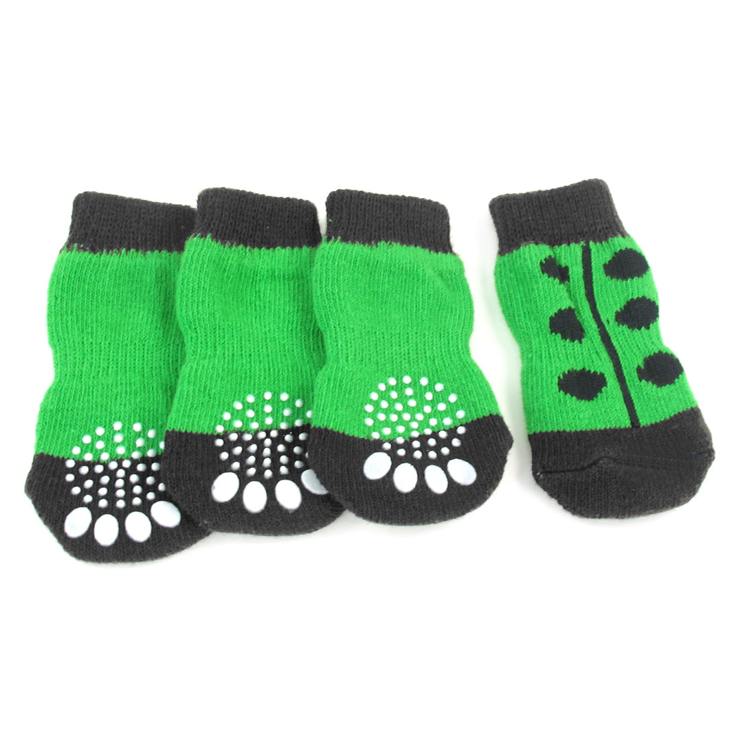 4 Pcs Size L White Paw Pattern Nonslip Bottom Elastic Knit Pet Dog Socks Green
