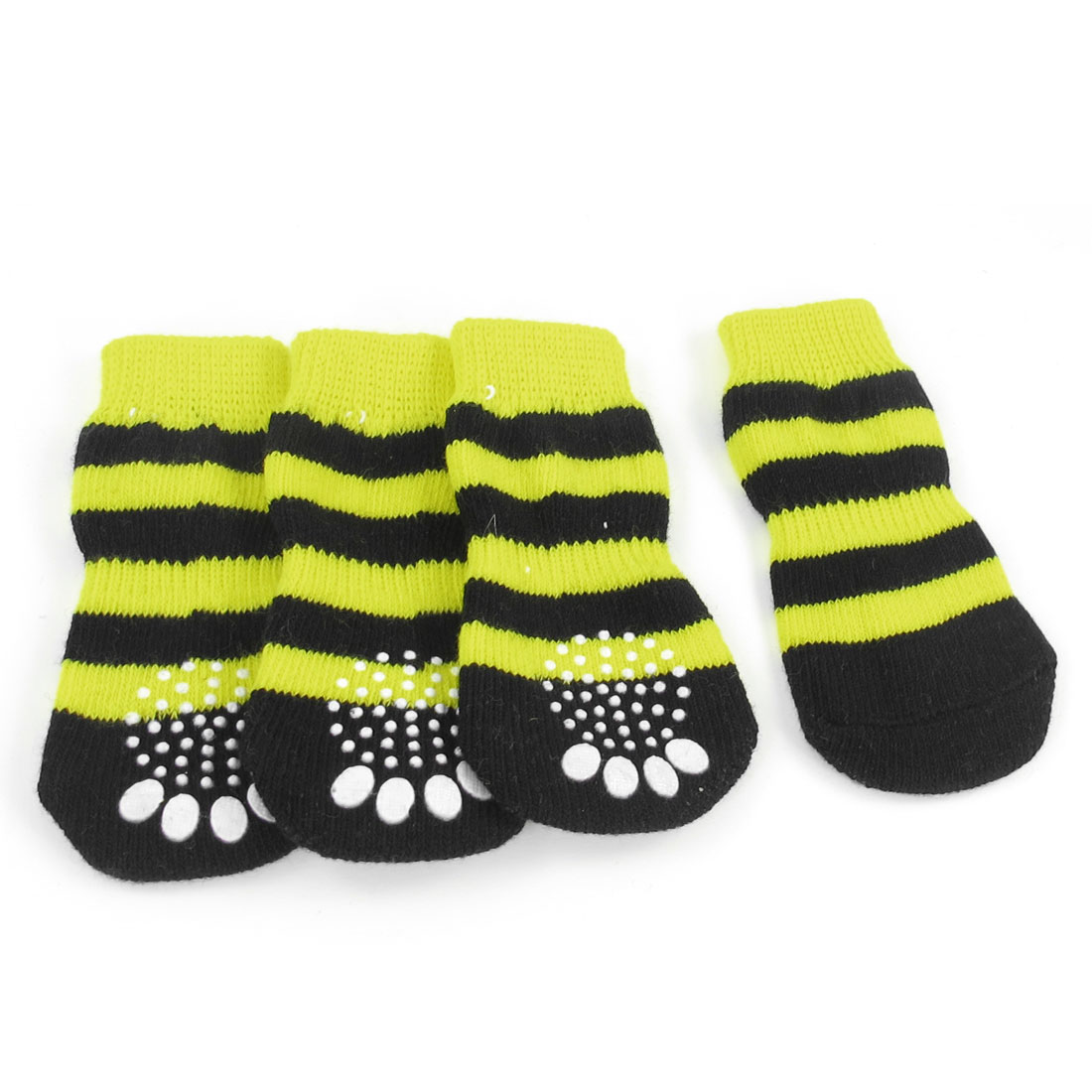 2 Pairs Size L Paw Pattern Elastic Nonslip Pet Dog Puppy Socks Yellow Black