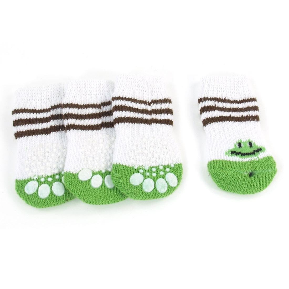 2 Pairs White Paw Pattern Nonskid Elastic Pet Dog Yorkie Puppy Socks Size S
