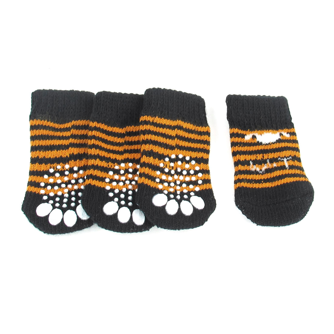 2 Pairs Paw Print Nonslip Stretchy Acrylic Pet Dog Socks Black Orange Size S