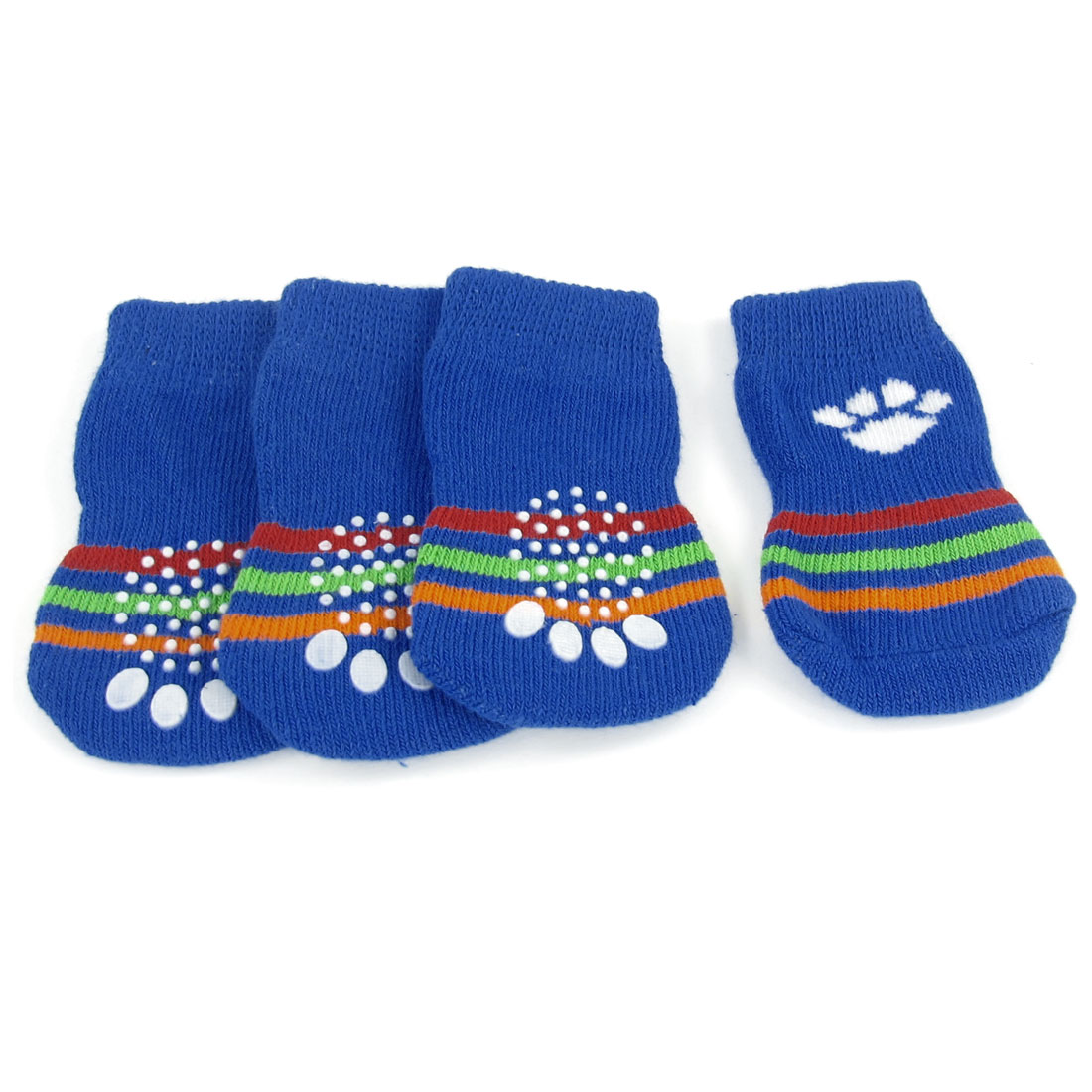 2 Pairs Striped Print Blue White Acrylic Pet Dog Doggie Puppy Socks Size L