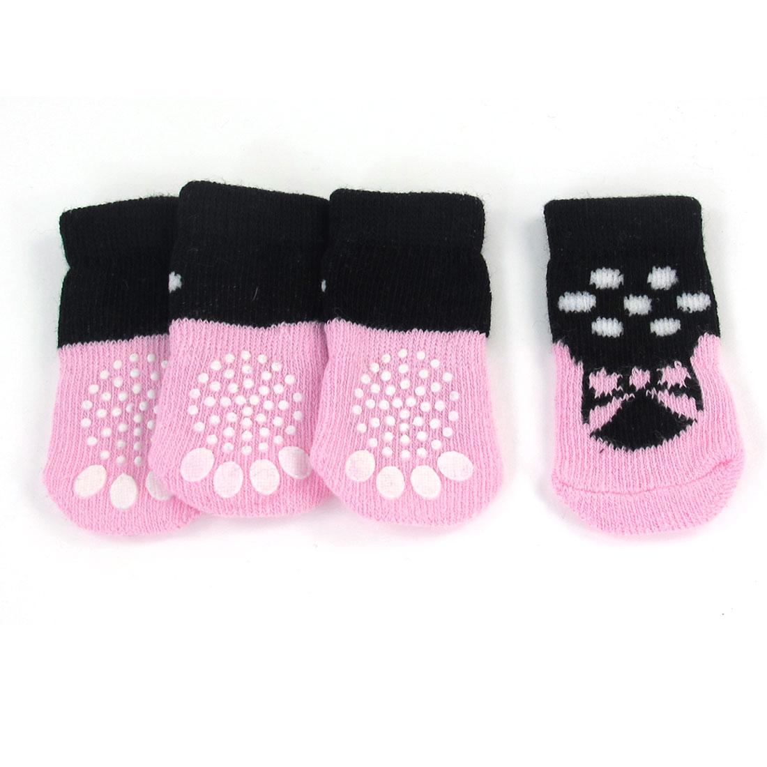 2 Pairs Pink Black Nonslip Stretchy Acrylic Pet Dog Puppy Socks Size S