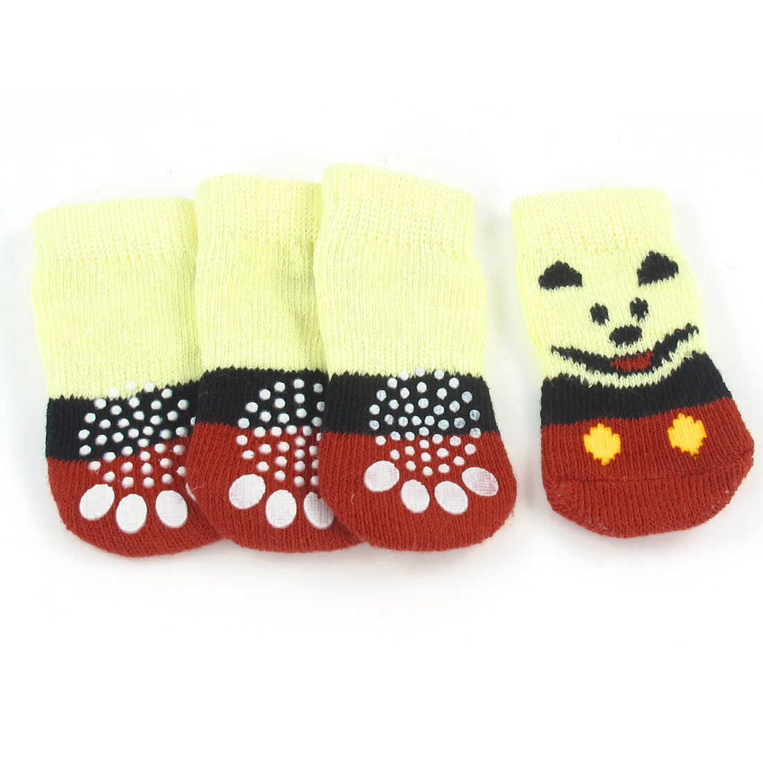 2 Pairs Dog Head Paw Pattern Stretchy Pet Doggie Puppy Socks Red Yellow Size S