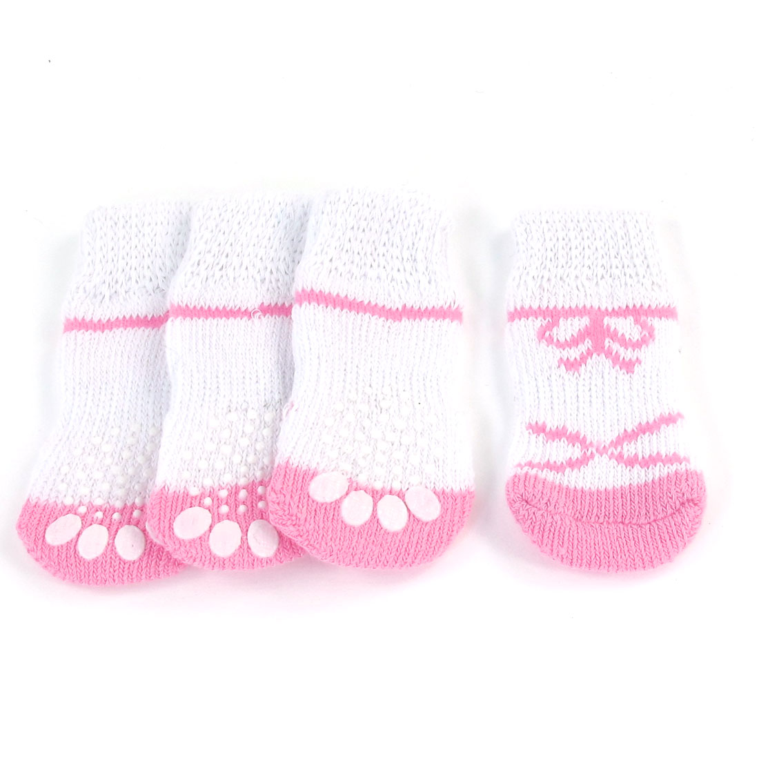 4PCS Pink White Paw Print Anti Slip Knitted Pet Dog Puppy Socks Size S