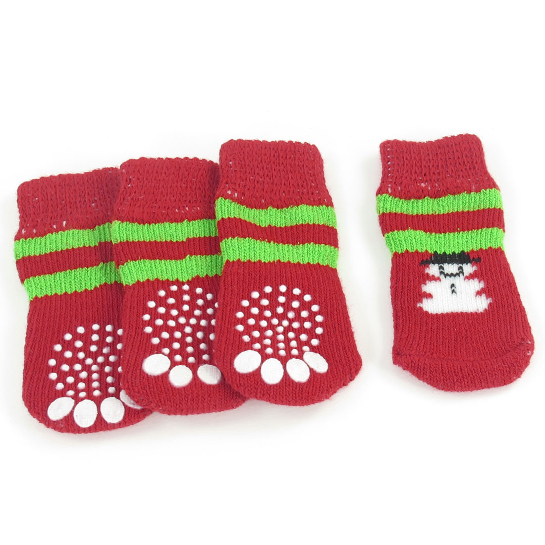 4PCS Warm Nonskid Paw Pattern Elastic Acrylic Pet Dog Doggie Puppy Socks Szie M