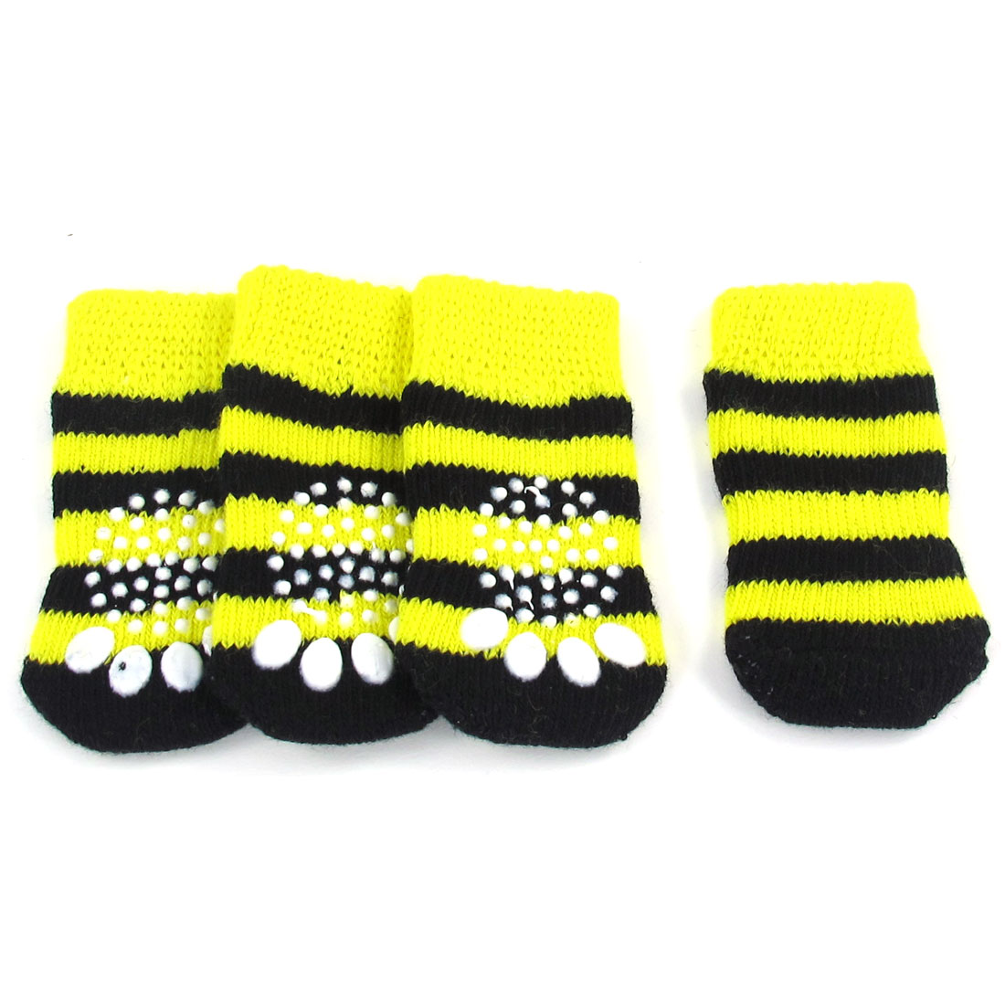 4 Pcs Stripe Paw Pattern Stretchy Pet Dog Doggie Puppy Socks Yellow Black Size S