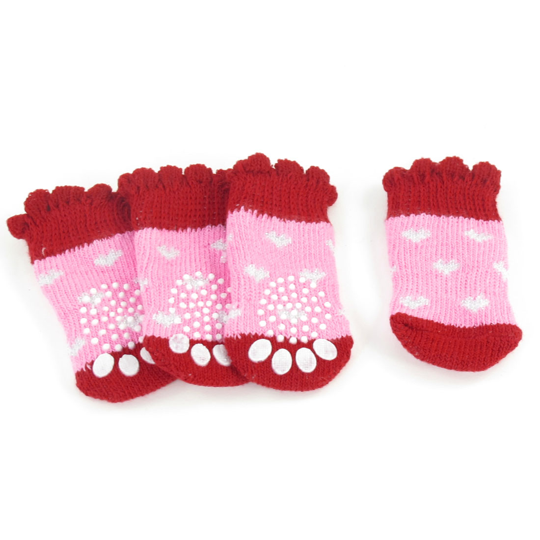2 Pairs Hearts Printed Acrylic Pet Dog Doggie Puppy Socks Red Pink Size S