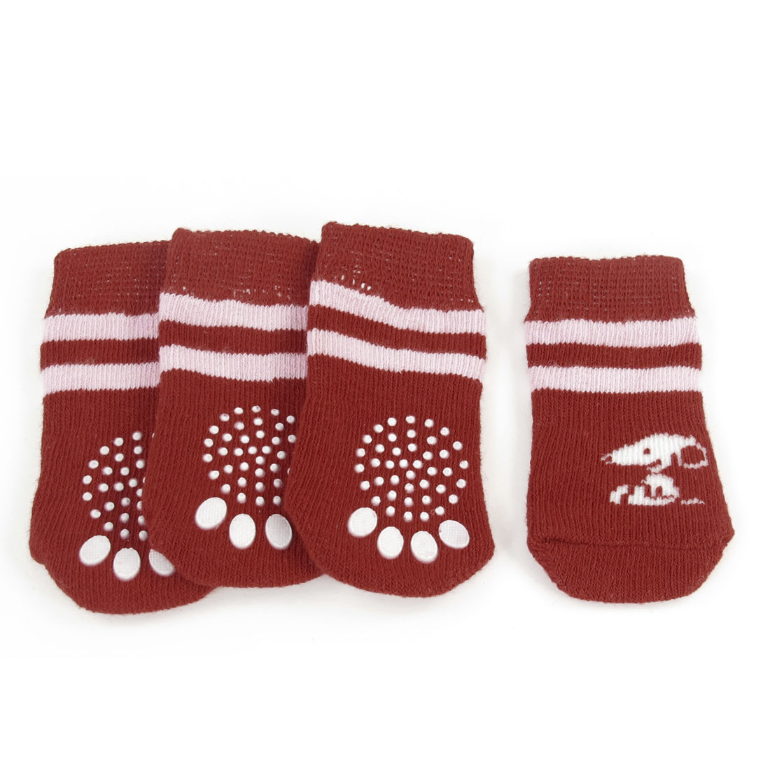 4 Pcs Red Pink Paw Print Non Slip Bottom Warm Pet Dog Puppy Socks Size M