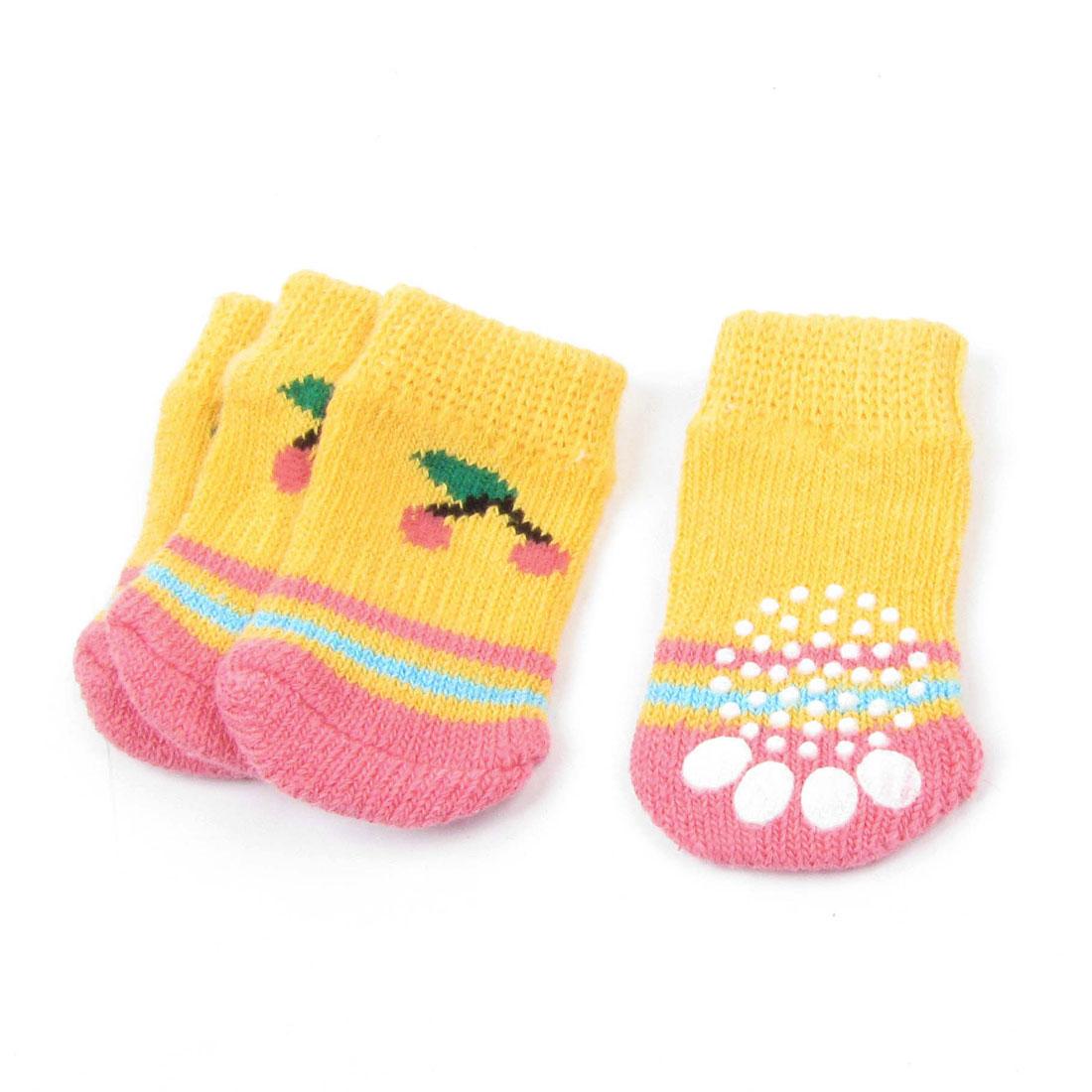 Orange Pink Size S Paw Pattern Nonskid Acrylic Knitted Pet Dog Socks 4 Pcs