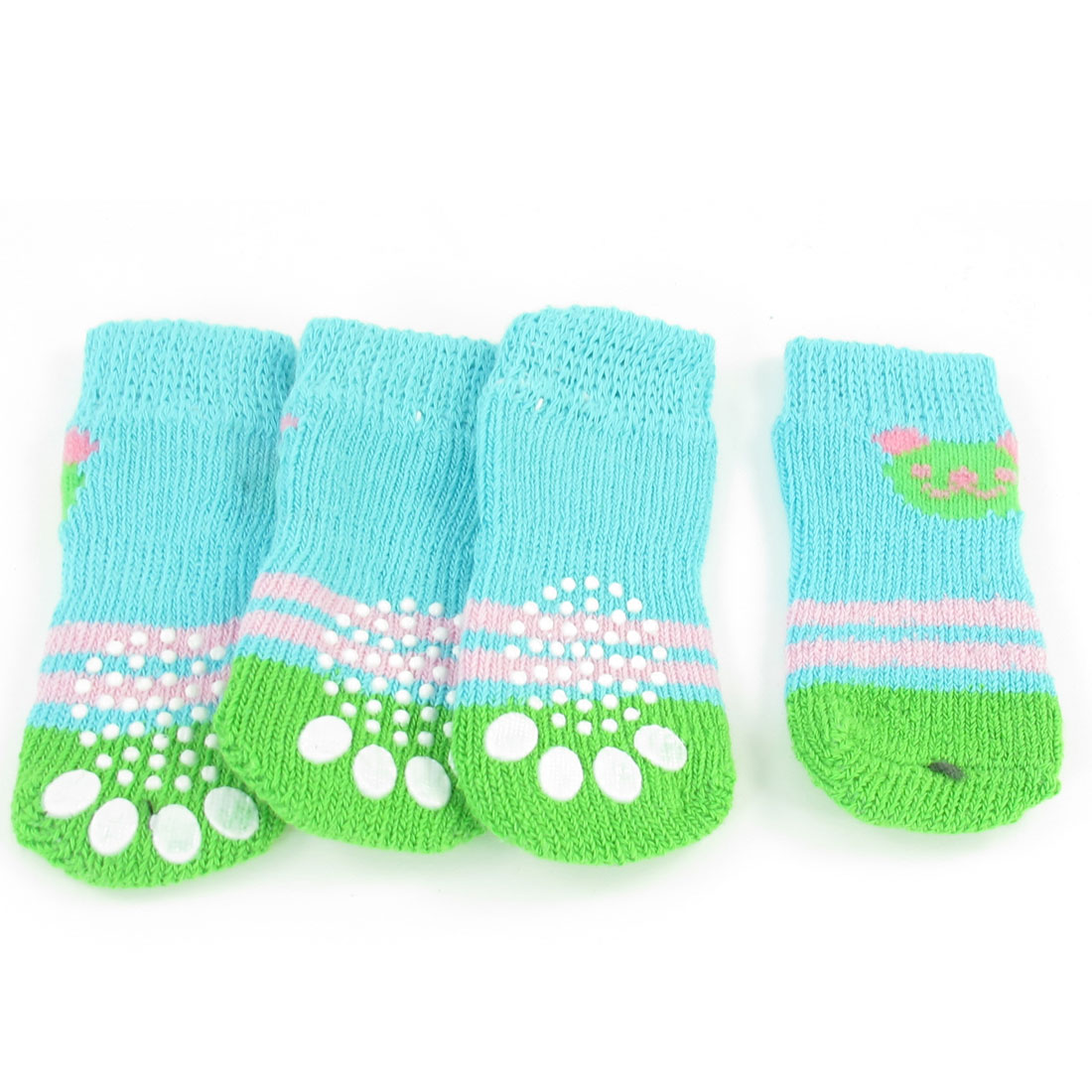 2 Pairs Green Blue Paw Pattern Acrylic knitted Pet Dog Doggie Socks Size M