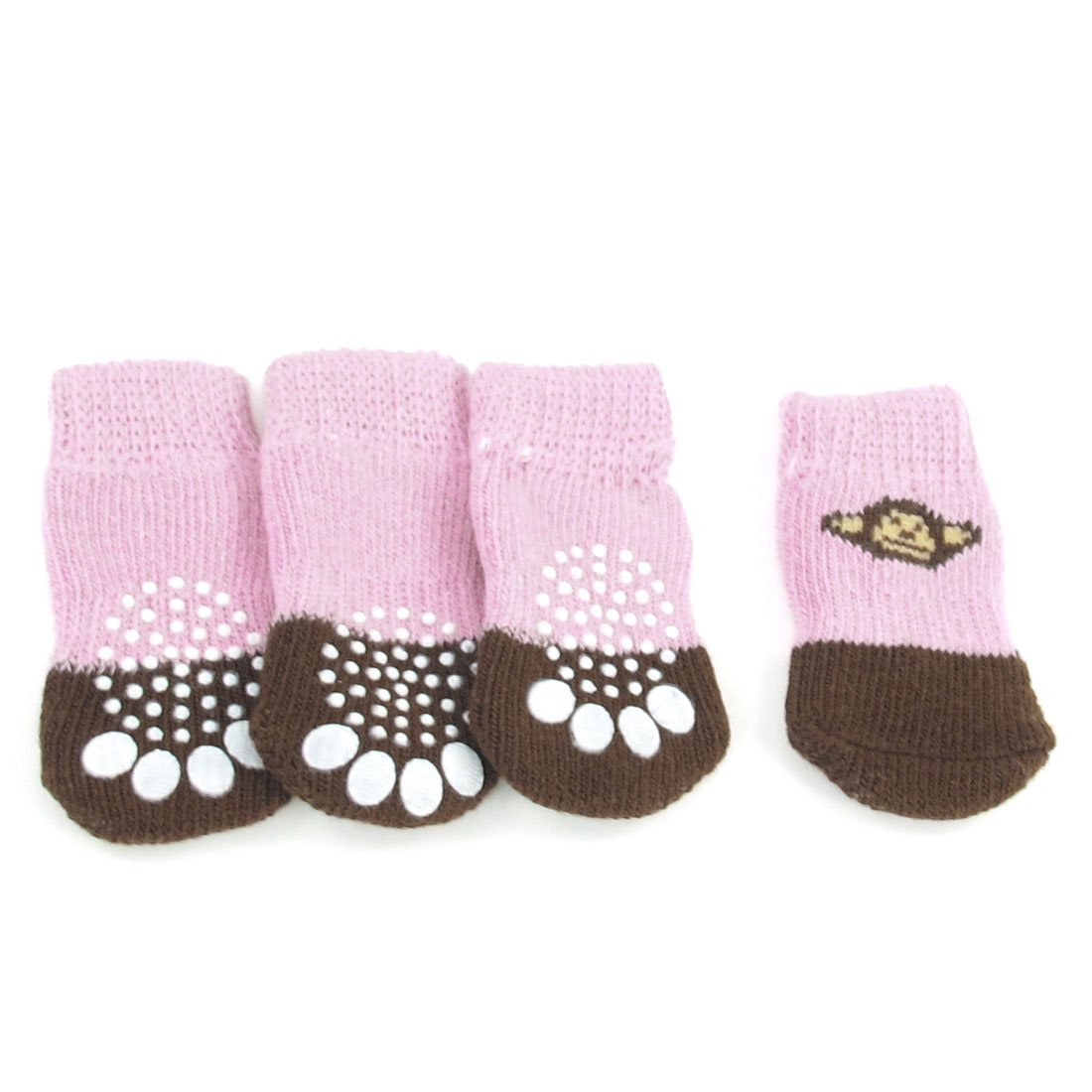 2 Pairs Warm Nonskid Paw Print Acrylic Pet Dog Doggie Socks Pink Brown Size S