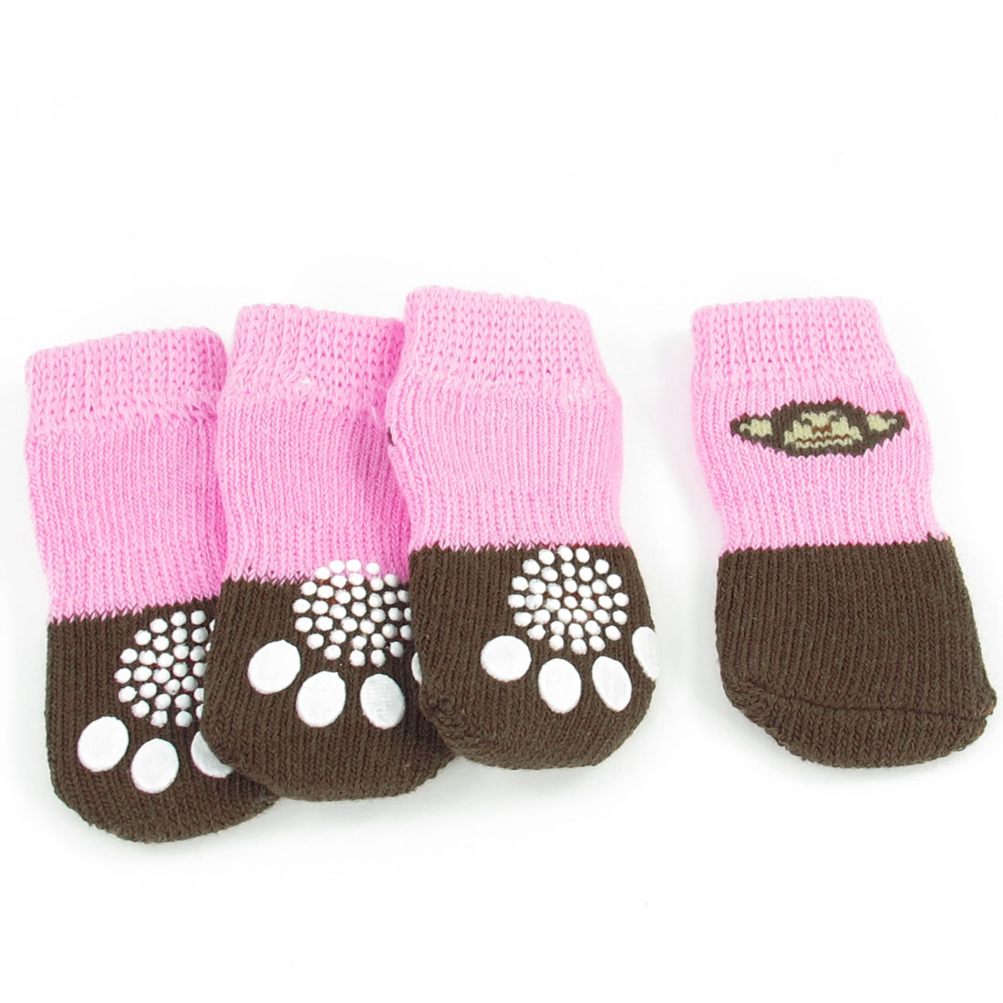 2 Pairs Size M Paw Print Antislip Bottom Pet Dog Doggie Puppy Socks Brown Pink
