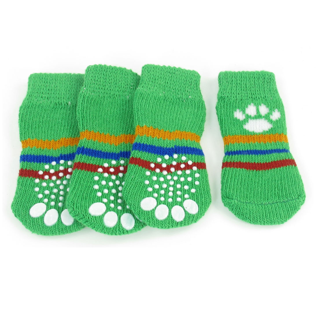 Green Size M Paw Pattern Nonslip Stretchy Knitted Pet Dog Puppy Socks 4 Pcs