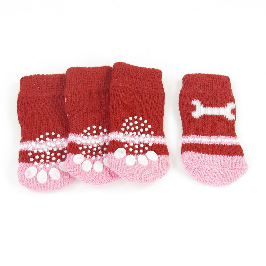 2 Pairs Size S Bone Pattern Stretchy Warm Pet Dog Puppy Socks Pink Red