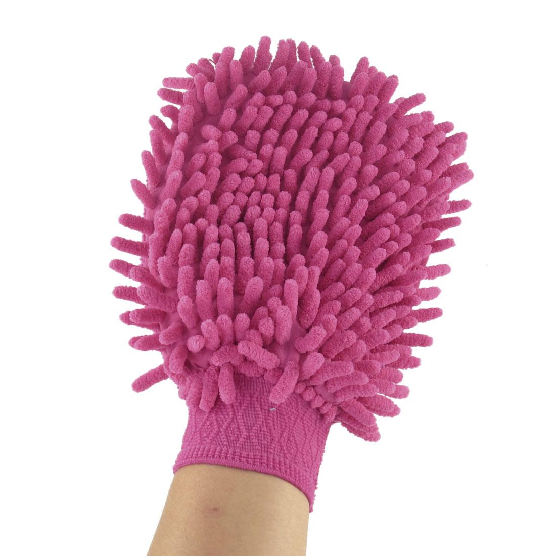 Fuchsia Elastic Cuff Microfiber Chenille Washing Cleaning Brush Glove for Car
