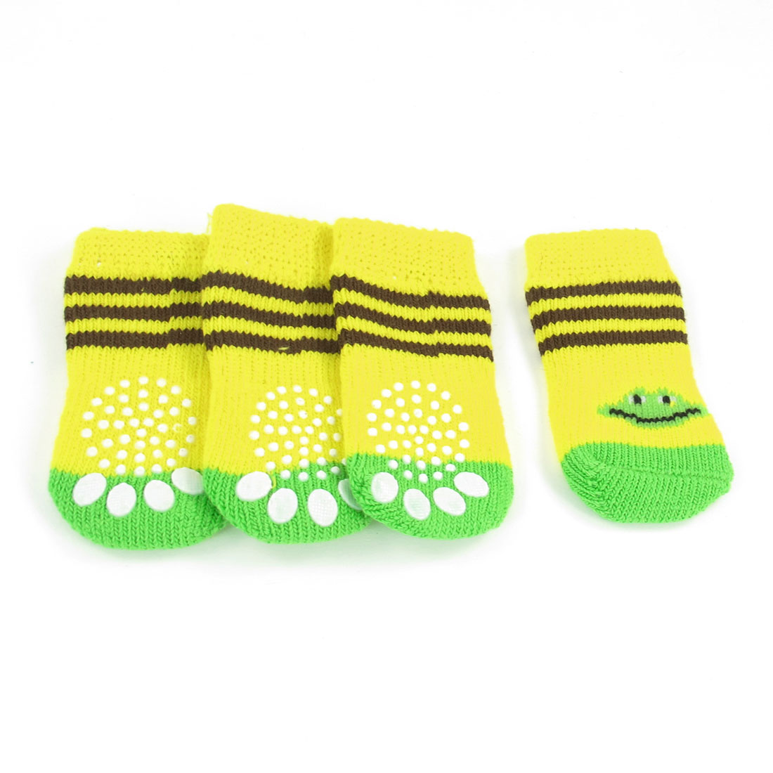 2 Pairs Striped Paw Pattern Acrylic Warm Pet Dog Puppy Socks Yellow Green Size M