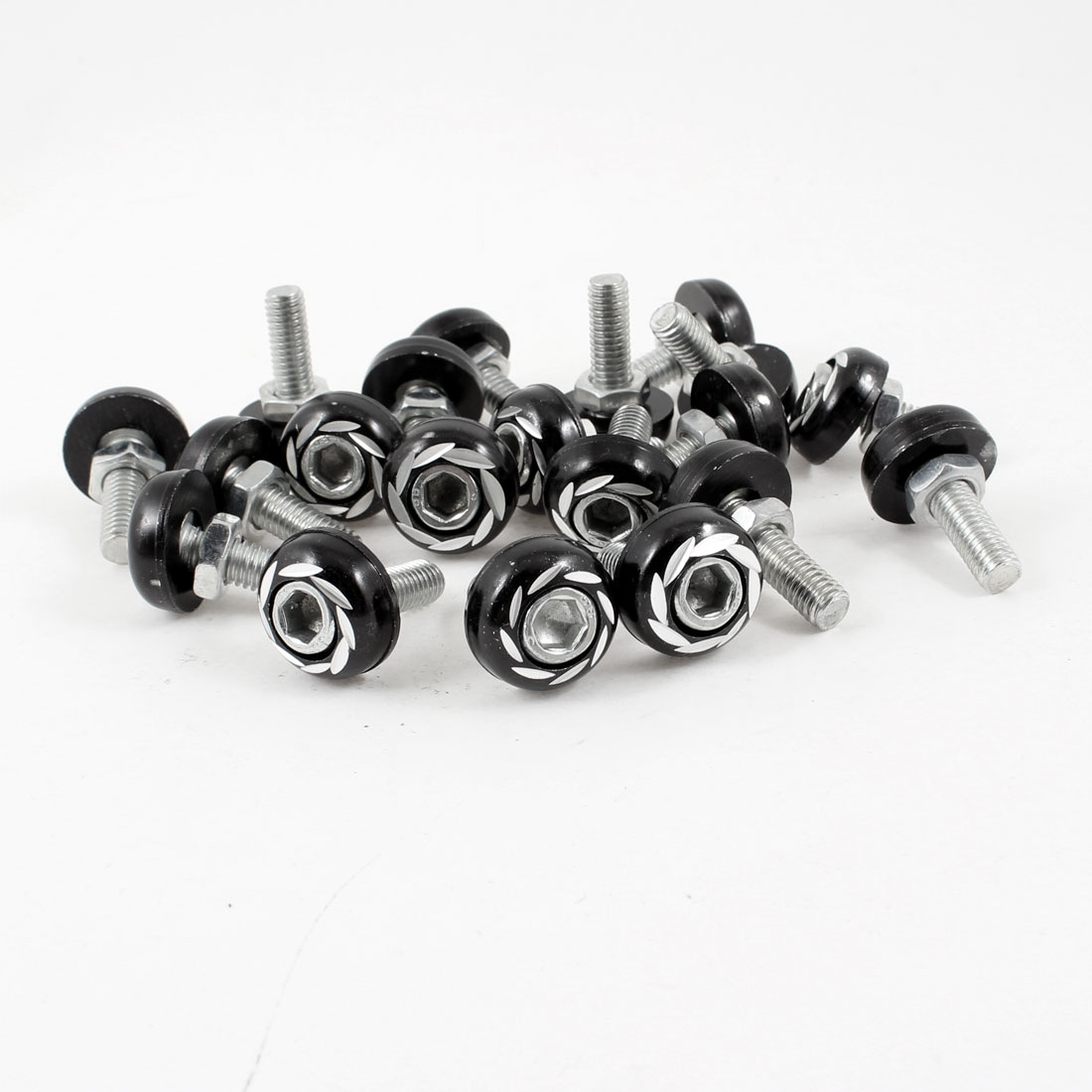 20PCS Car Automobile License Plate Bolt Screw Decoration Silver Tone Black