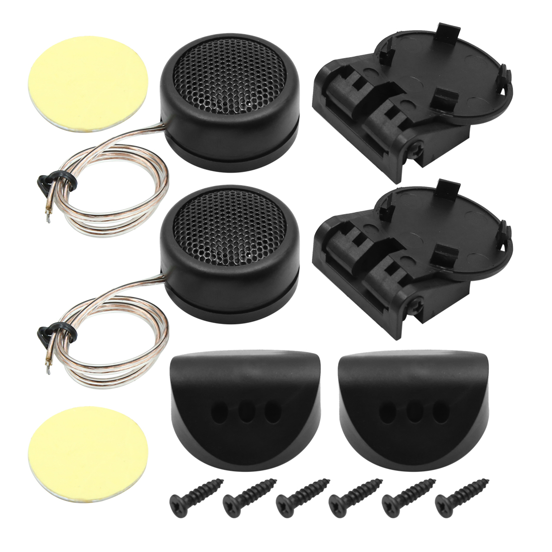 Car Vehicle Surface Mount Dome Loud Speakers Tweeters Black 300W 100dB Pair