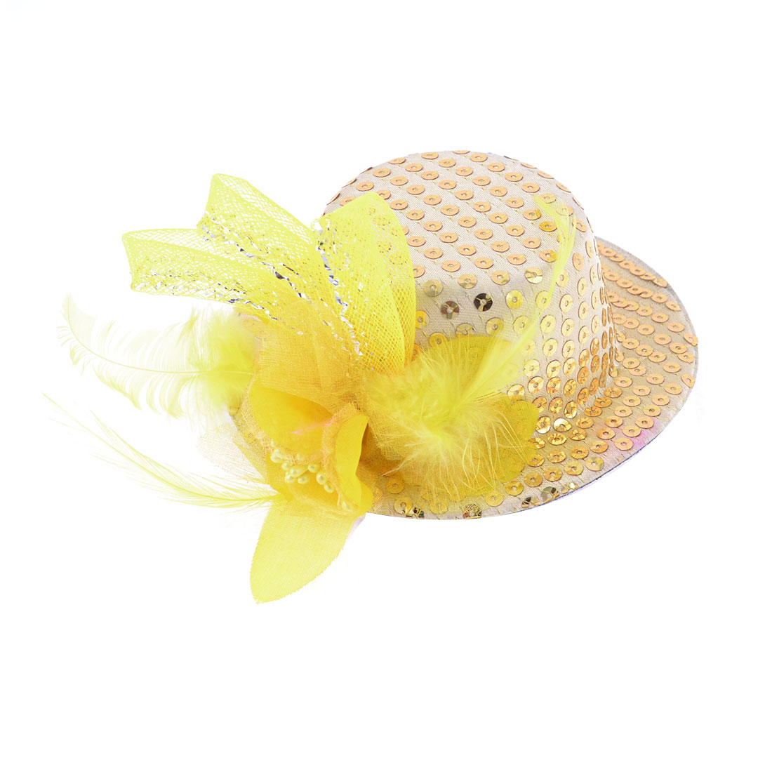 Mesh Bowknot Floral Decor Yellow Top Hat Prong Alligator Hair Clip for Lady