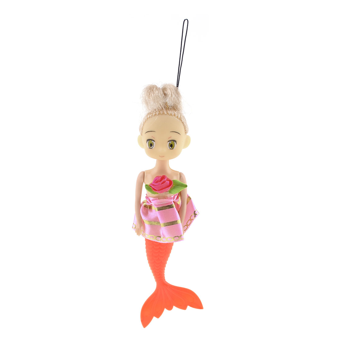Pink Flower Skirt Decoration Orange Tail Mermaid Handbag Pendant