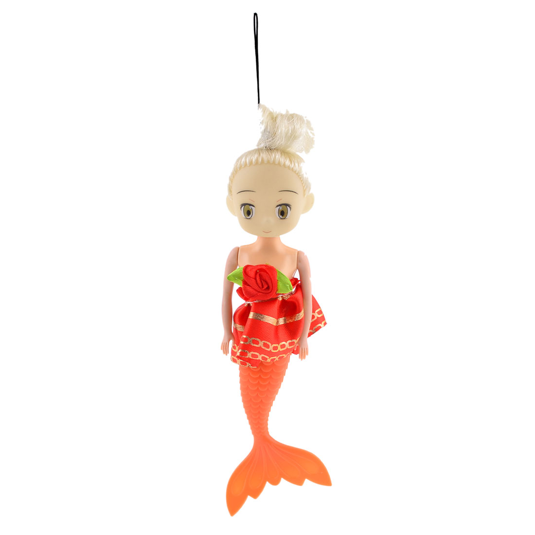 Red Polyester Skirt Decoration Orange Mermaid Shaped Handbag Pendant for Lady