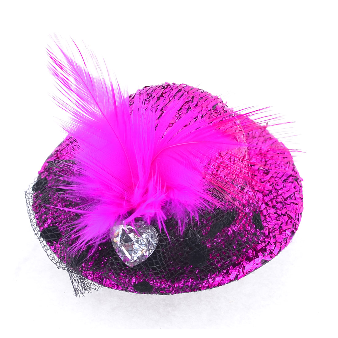 Fuchsia Faceted Rhinestone Top Hat Fascinator Prong Alligator Hair Clip