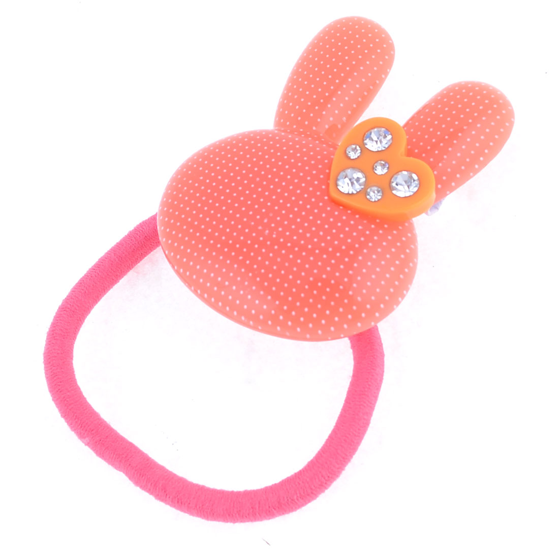 Rhinestone Inlaid Rabbit Shaped Decorate Elastic Ponytail Holder Hair Band