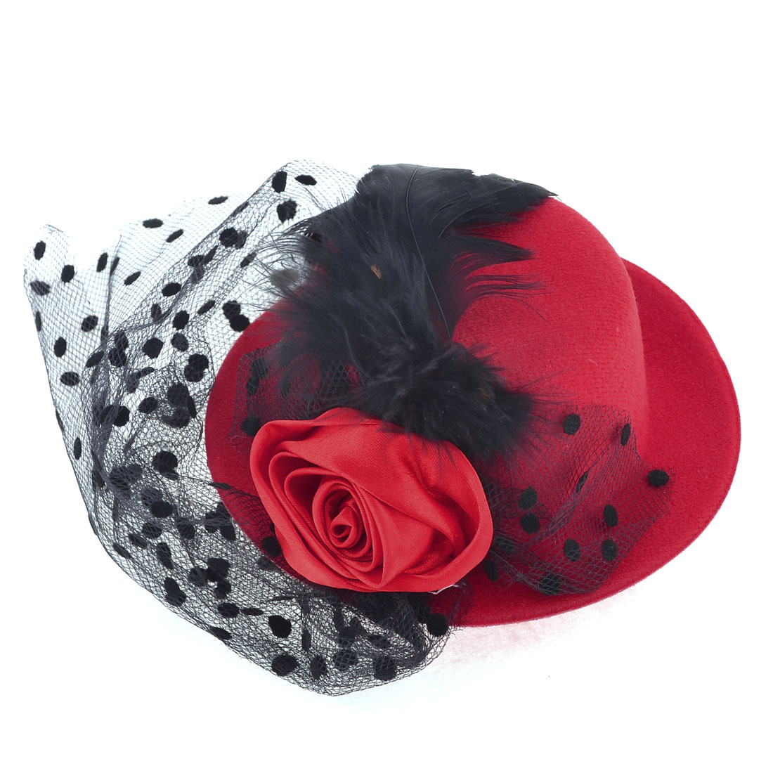 Women Party Headdress Rose Black Meshy Decor Mini Top Hat Hair Clip Red